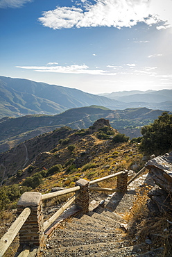 Mountains And Steps Leading Down On A Trail, Alpujarra, Granada Province, Andalucia, Spain