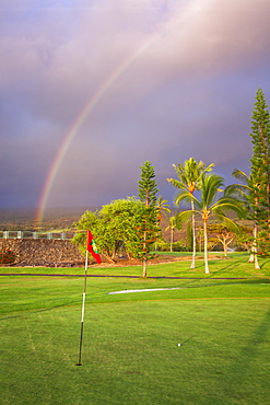 Rainbow Over A Golf Course, Kona Country Club, Kailua-Kona, Island Of Hawaii, Hawaii, United States Of America