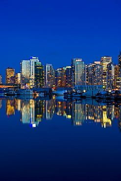 Reflection Of Vancouver's Skyline In The Evening, Vancouver, British Columbia, Canada
