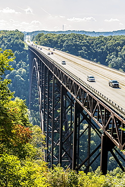 The New River Gorge Bridge, A Steel Arch Bridge 3,030 Feet Long Over The New River Gorge Near Fayetteville In The Appalachian Mountains Of The Eastern United States, West Virginia, United States Of America
