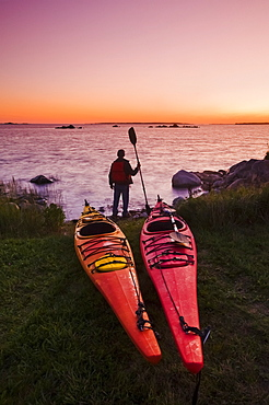 Kayaks Along Atlantic Ocean Coastline, Bear Point, Nova Scotia, Canada