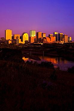 Edmonton, Alberta, Canada; City At Twilight
