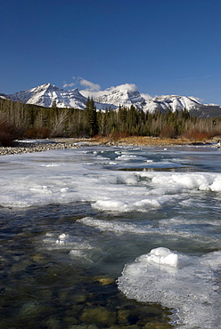 Mountain River Melting In Spring, Kananaskis, Alberta, Canada