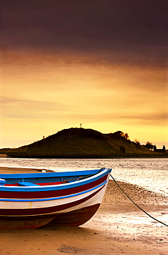 Alnmouth, Northumberland, England; Boat On Sunset Beach