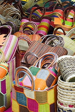 Colorful Baskets In Market, Ajaccio, Corsica, France