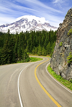 Washington, United States Of America; View Of Mt. Rainier From The Highway In Mt. Rainier National Park