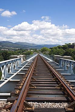 Rail Tracks On Top Of Eiffel Bridge; Tui, Spain