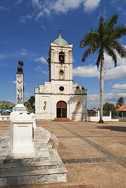Iglesia Del Sagrado Corazon With Memorial To Jose Julivï¾°n Marti Perez In The Foreground; Vinales, Cuba