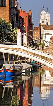 Boats On The Canal In The Dorsoduro District; Venice, Veneto, Italy