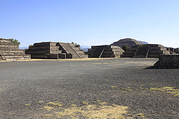 Teotihuacan pyramids against clear blue sky