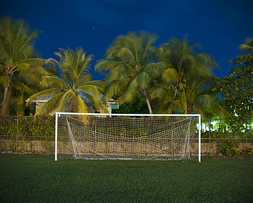 Soccer goal on field against palm trees at dusk
