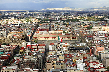 High angle view of Metropolitan Cathedral and National Palace at Zocalo