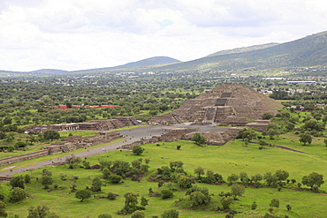 High angle view of Sun Pyramid and landscape against cloudy sky