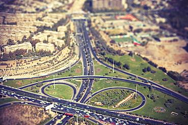Tilt-shift image of highway in city, Tehran, Iran