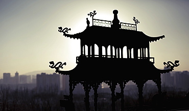 Silhouette structure at Ta'er Monastery during sunset, Xining, Qinghai Province, China