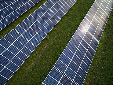 High angle view of solar panels in field