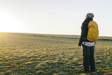 Rear view of female hiker standing on field against clear sky during sunrise