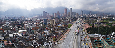 Aerial view of cityscape against sky, Bogota, Columbia