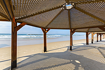 View of sea from under beach shelter in voronezh, russia