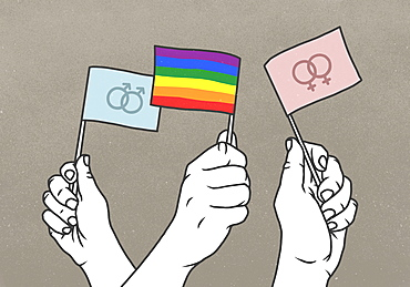 Opposing hands waving rainbow and gender flags