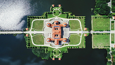 View from above Moritzburg Castle and gardens, Saxony, Germany
