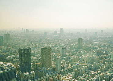 Sunny, smoggy cityscape view, Tokyo, Japan