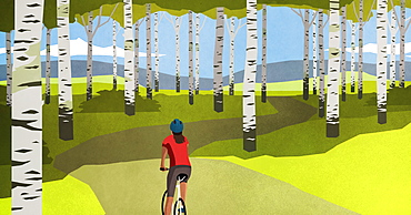 Woman mountain biking on path through trees in idyllic forest
