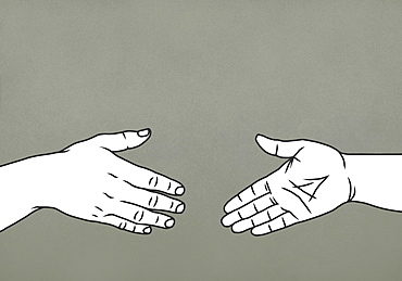 Hands reaching for handshake