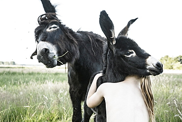 Bare chested girl hugging baby donkey in rural field