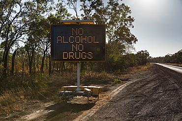 No Alcohol No Drugs digital road sign at sunny roadside