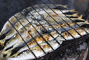 Whole sardines cooking on barbecue grill