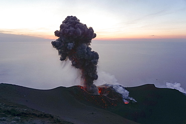 Ash plume and lava, Mount Etna, Stromboli, Sicily, Italy
