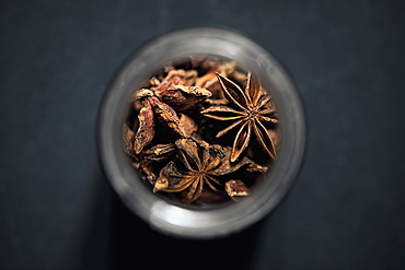 View from above star anise in spice jar