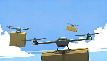 Drones flying in sky, delivering cardboard box packages