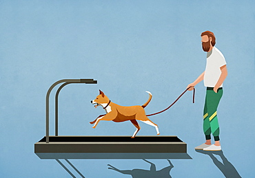 Man with leash watching dog running on treadmill