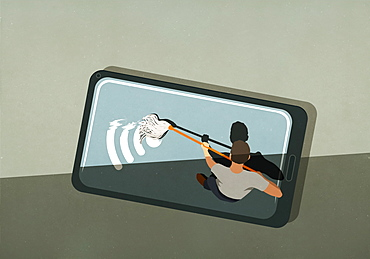 Man mopping wifi symbol on smart phone screen