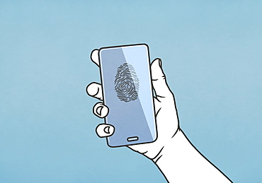 Hand holding smart phone with fingerprint