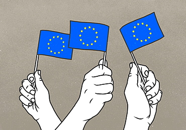 Hands waving small European Union flags