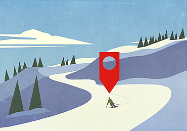 Location pin above downhill skier on snowy mountain ski slope