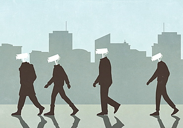 Men with surveillance camera heads in city