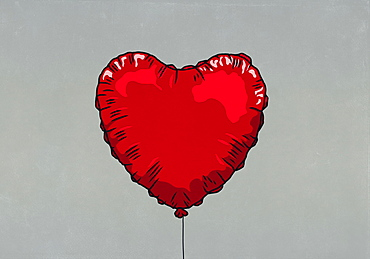 Red heart shape helium balloon