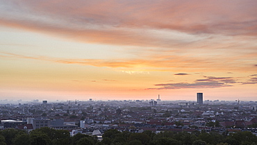 Sunset sky over Berlin cityscape, Germany