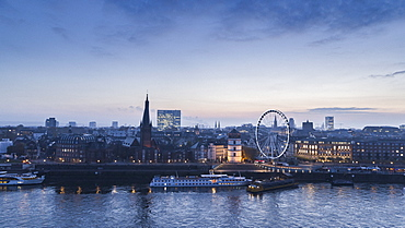 Duesseldorf cityscape and Rhine River at dusk, North Rhine-Westphalia, Germany
