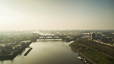 Sunny scenic Hamburg cityscape and Elbe River, Germany