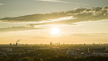 Sunset over Munich cityscape, Bavaria, Germany
