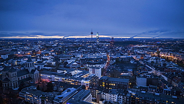 Cologne cityscape and Colonius TV Tower at night, Germany