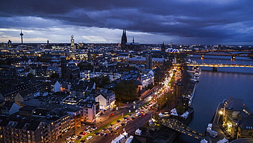 Cologne cityscape illuminated at night, Germany