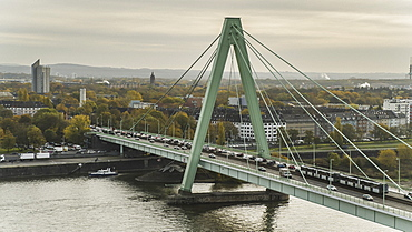 Traffic on bridge over Rhine River, Cologne, Germany