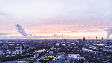 Cologne cityscape at sunset, Germany