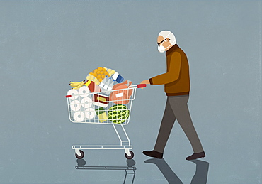 Senior man with protective face mask pushing groceries in shopping cart